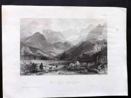 Allom France 1840 Antique Print. Vat d'Azum - High Pyrenees